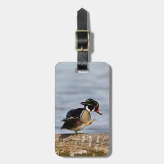 Wood Duck on log in wetland Luggage Tag