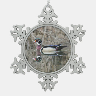 Wood Duck Snowflake Pewter Christmas Ornament