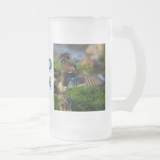 Wood Duck Wing Frosted Glass Beer Mug