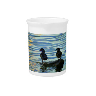 Wood Ducks at Sunset Drink Pitcher