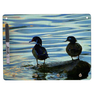 Wood Ducks at Sunset Dry Erase Board With Keychain Holder