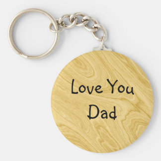 Wood Effect Abstract Basic Round Button Keychain