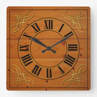 Wood Effect Faced Clock With Roman Numerals