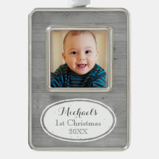 Wood Effect Rustic Baby's First Christmas Ornament Silver Plated Framed Ornament