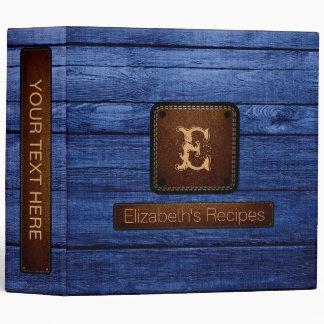 Wood Elegant Monogram Leather Look #19 3 Ring Binder