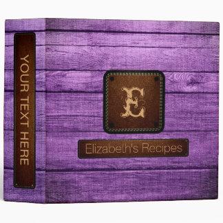 Wood Elegant Monogram Leather Look #22 Binder