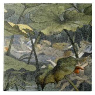 Wood Elves at Play, illustration from 'In Fairylan Ceramic Tile