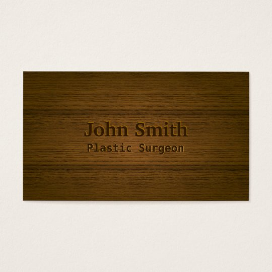 Wood Embossing Plastic Surgeon Business Card