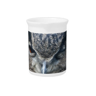 Wood eye is watchful - blinking eagle owl pitcher