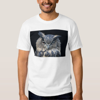 Wood eye is watchful - blinking eagle owl t-shirt