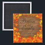 "Wood fall autumn leaves custom wedding magnets<br><div class=""desc"">Wood fall autumn leaves custom wedding magnets</div>"