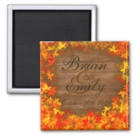 Wood fall autumn leaves custom wedding magnets