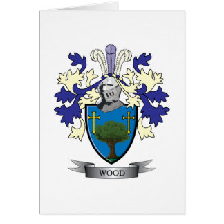 Wood Family Crest Coat of Arms Card