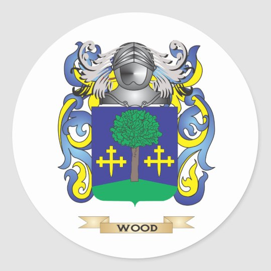Wood Family Crest (Coat of Arms) Classic Round Sticker