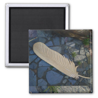 Wood Feather Refrigerator Magnet