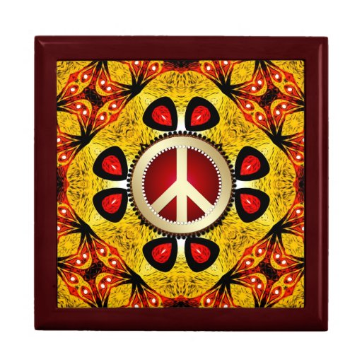 Wood Feather Peace Sign Wooden Gift Box