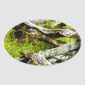 Wood_Fence.JPG Oval Sticker
