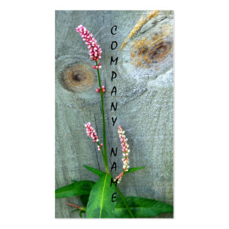 Wood Fence Pink Wildflower Business Card
