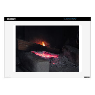 Wood fire flame heat spires burning in fireplace laptop skin