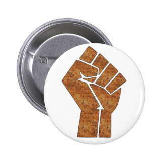 Wood fist pinback buttons