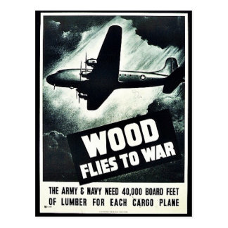 Wood Flies To War Postcard