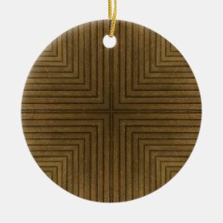 Wood Floor Kaleidoscope Pattern Ceramic Ornament