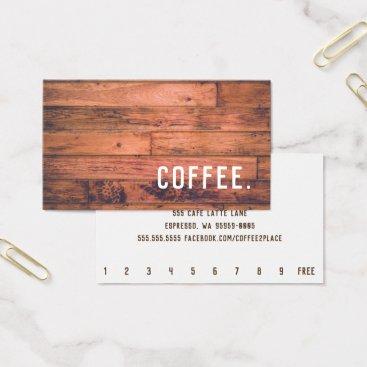 coffeepunch Wood Floor Simple Loyalty Coffee Punch-Card Business Card