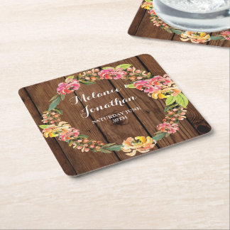 Wood Floral Wreath Coaster Mats Wedding Party