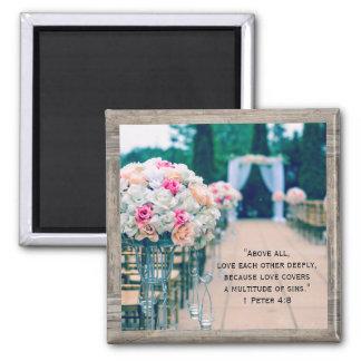 Wood Flower Bouquet Love Wedding Aisle Bible Verse Magnet
