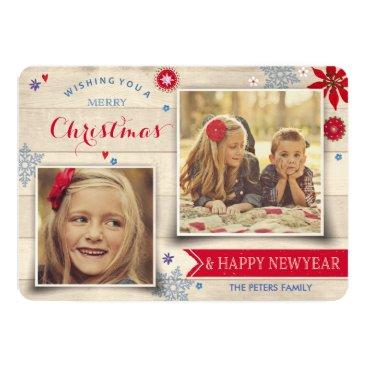 Christmas Themed Wood & Flowers Christmas   Holiday Photo Card