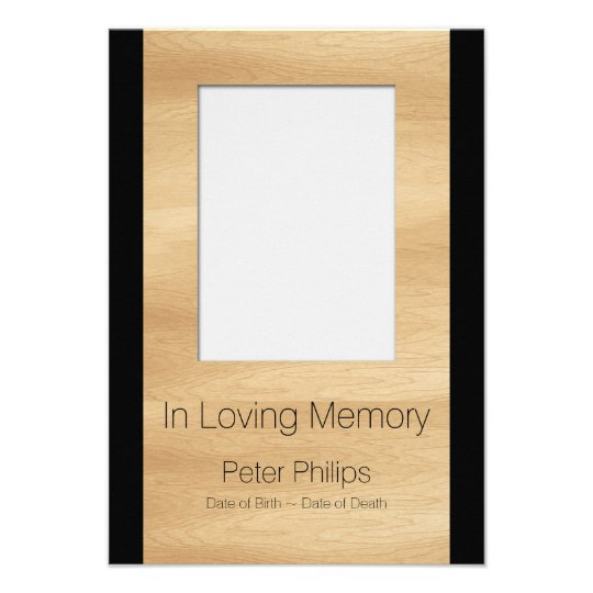 Wood Frame Template Funeral Announcement Add Image  Funeral Announcements Template