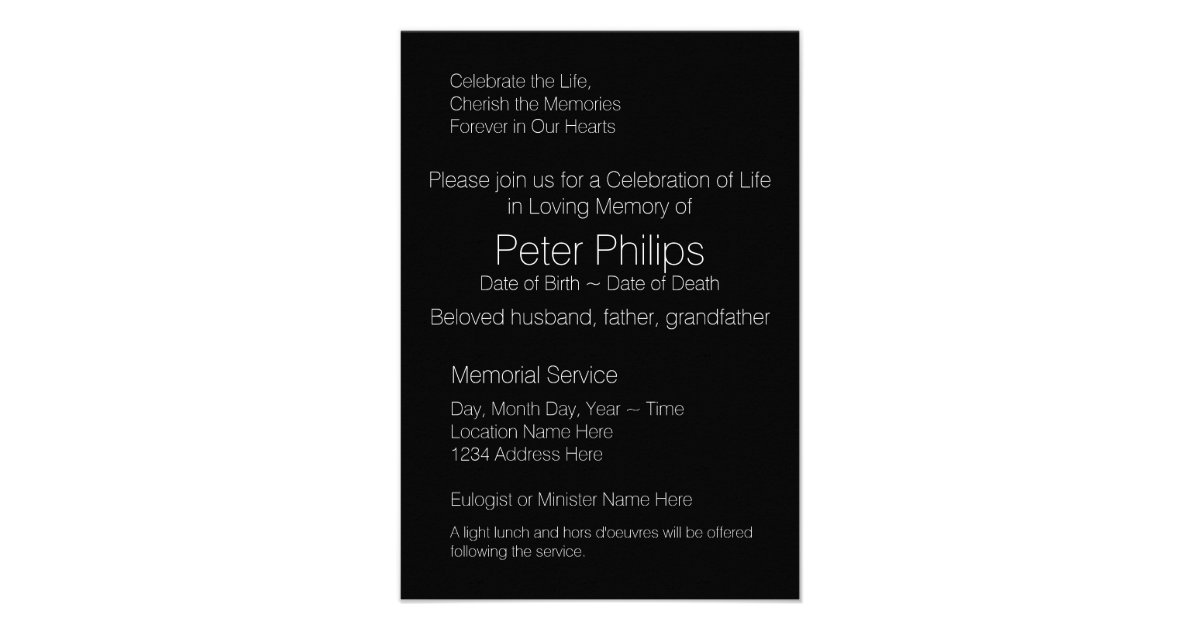 Wood Frame Template Funeral Announcement Add Image | Zazzle