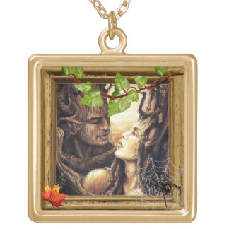 wood goddess gold-plated necklace