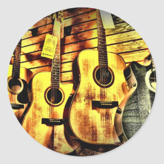 Wood Grain Acoustic Guitars Classic Round Sticker