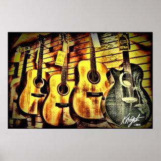 Wood Grain Acoustic Guitars Poster
