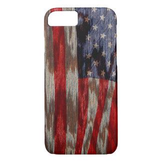 Wood grain American flag iPhone 7 Case