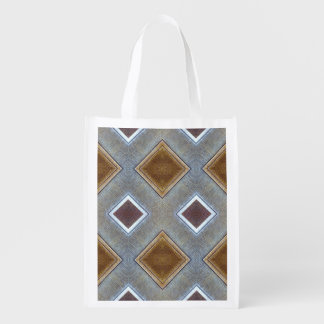 Wood Grain and Silver Checkered Pattern Grocery Bag
