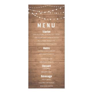 Wood grain and string lights rustic menu card