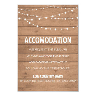 Wood grain and string lights suite wedding insert card