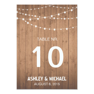Wood Grain and string lights table numbers Card