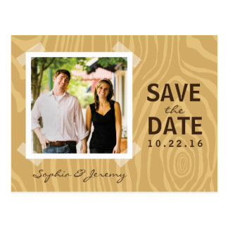 Wood Grain Brown - Photo Save the Date Postcard
