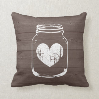 Wood grain country chic mason jar throw pillow