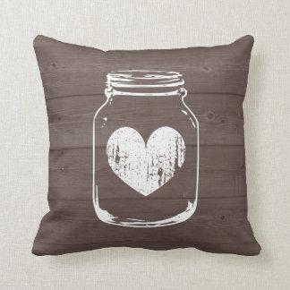 Wood grain country chic mason jar throw pillow