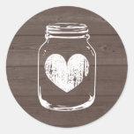 Wood grain country chic mason jar wedding stickers round sticker
