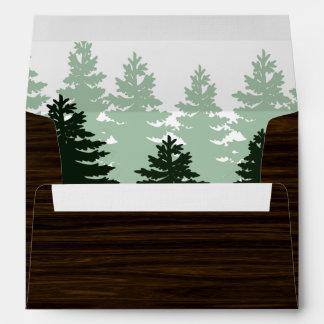 Wood Grain Enchanted Forest Wedding Envelopes