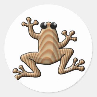 Wood Grain Frog Classic Round Sticker