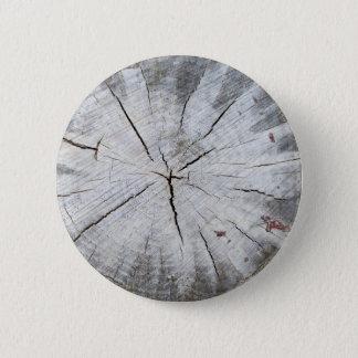 Wood Grain Gray Pine Tree Stump Photo Art 1 Button