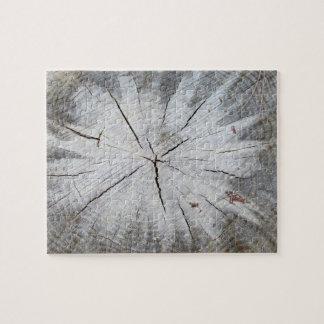 Wood Grain Gray Pine Tree Stump Photo Art 1 Jigsaw Puzzle