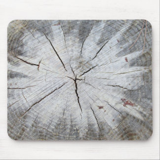 Wood Grain Gray Pine Tree Stump Photo Art 1 Mouse Pad