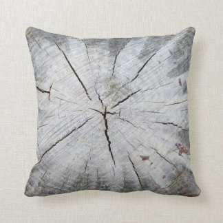 Wood Grain Gray Pine Tree Stump Photo Art 1 Throw Pillow
